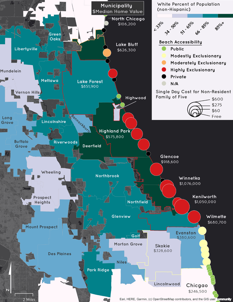 Map showing North Shore restrictive policies