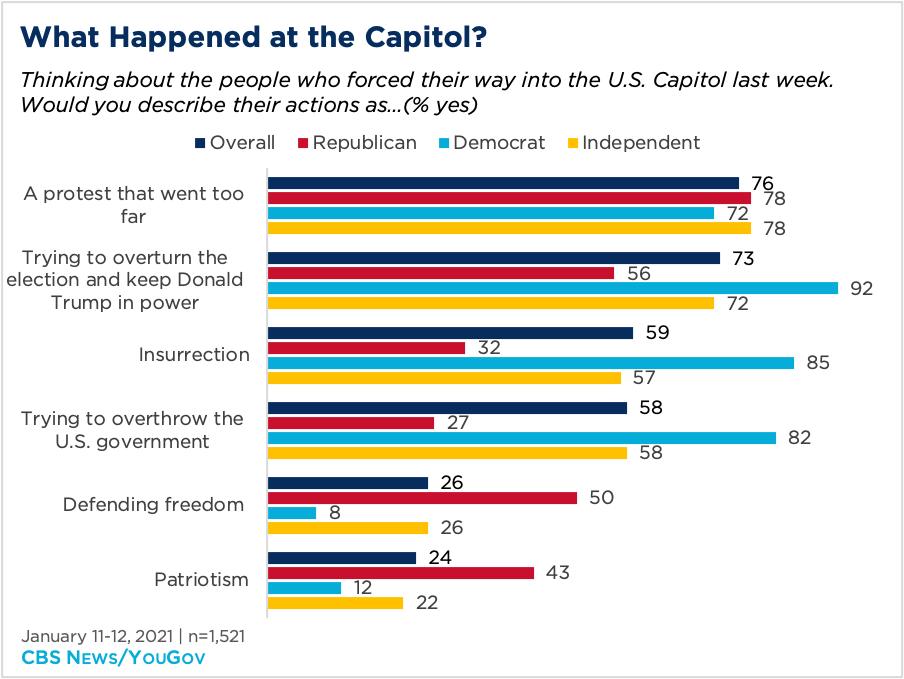 Bar graph showing opinion of what happened at the Capitol