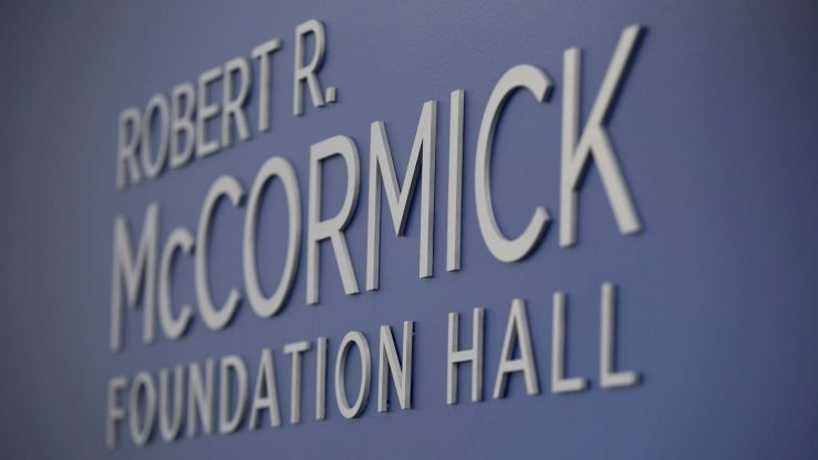 Photo of McCormick Foundation Hall sign in the Council's Conference Center