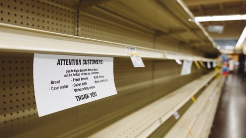 Empty grocery store shelves during Coronavirus pandemic.