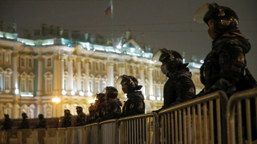 Russian law enforcement officers stand guard in Saint Petersburg