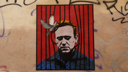 a painting of Alexei Navalny on a wall