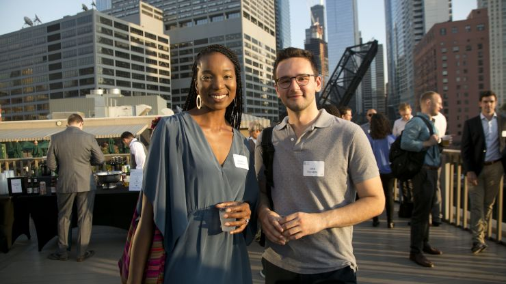 Two young professionals at the annual Summer Soiree.