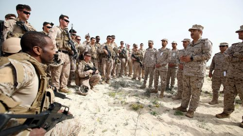 Admiral Ali Saeed Al Shehri speaks with soldiers during mixed maritime exercise with U.S. Navy and Saudi Royal Navy, at Saudi Military Port, Ras Al Ghar, Eastern Province, in Jubail